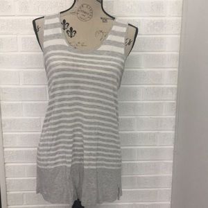 Gap Gray and White Striped Long Tank Top in Large